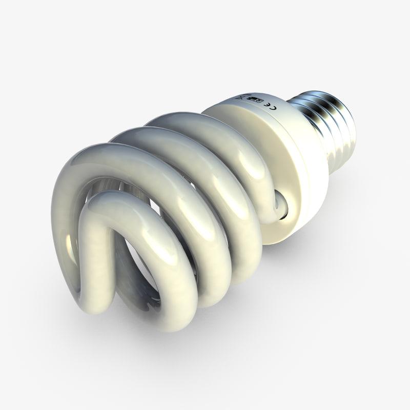 spiral bulb e27 3d max