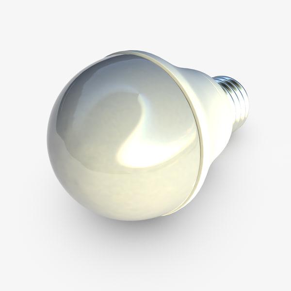 3d model white led bulb