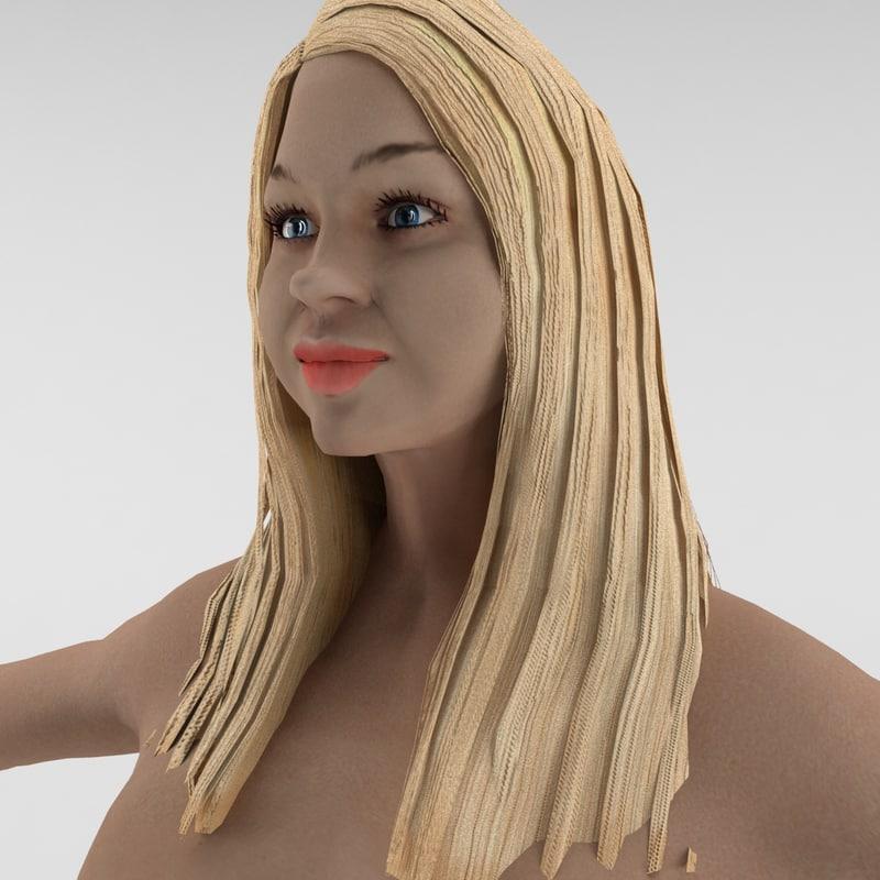 3d human female rigged ready model