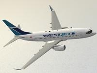 3d boeing 737-700 westjet model