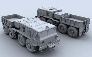 maz 537 towing truck 3d model