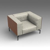 3d model leather armchair