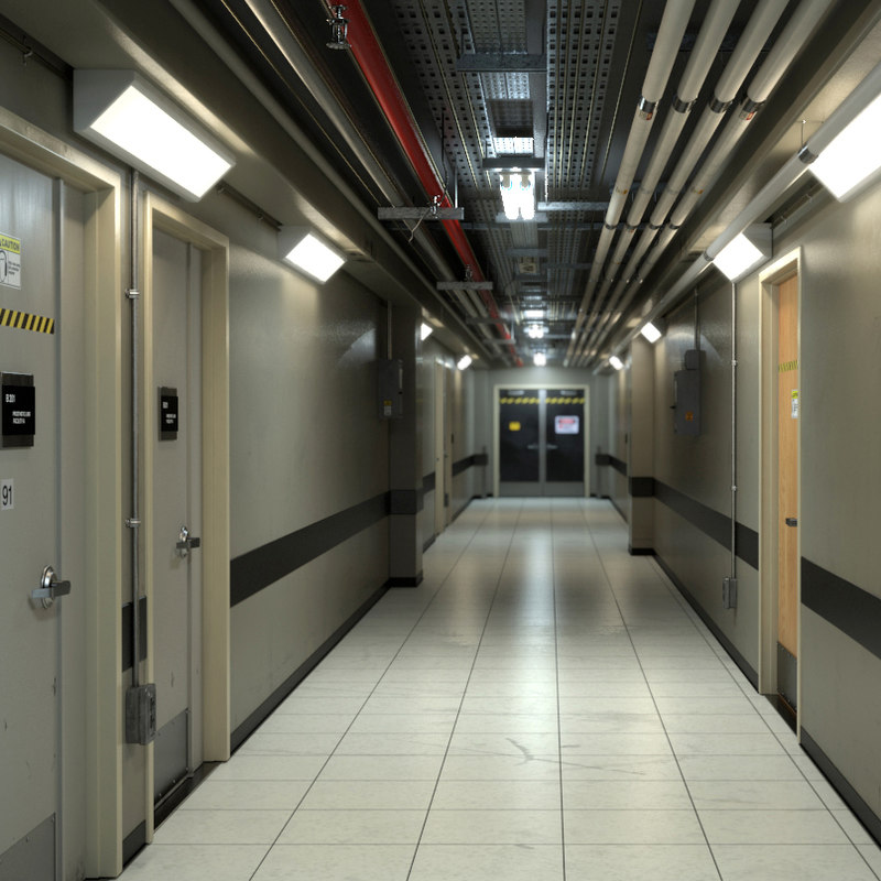 3d model photorealistic industrial hallway