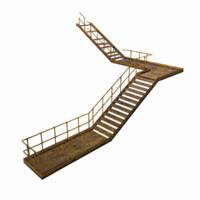 3dsmax modular industrial staircase