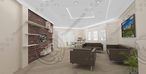 living room dining 3d model