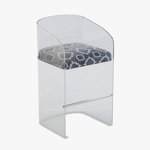 3d model lucite bar stool