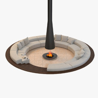Circular Conversation Sofa With Firepit