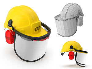 safety helmet face ears 3d max