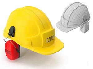 safety helmet ears cover 3d model