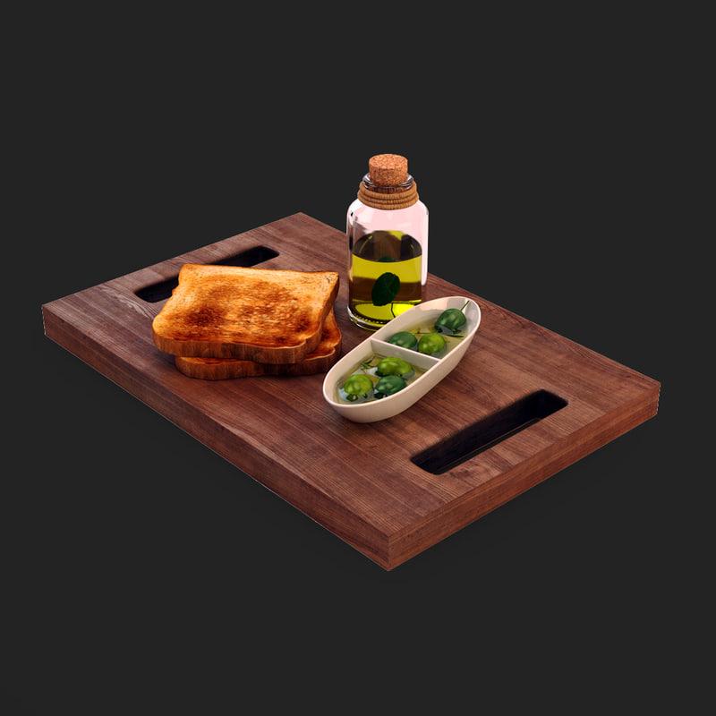 3d model breakfast toasted breads