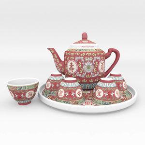3d model traditional chinese porcelain tea set