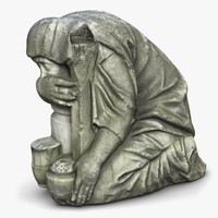3d sad woman monument