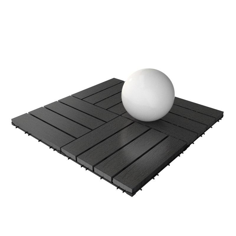 wooden deck tile v4 3d model