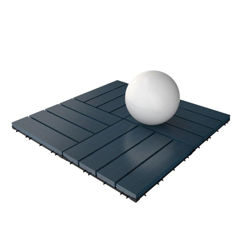 3d wooden deck tile v6