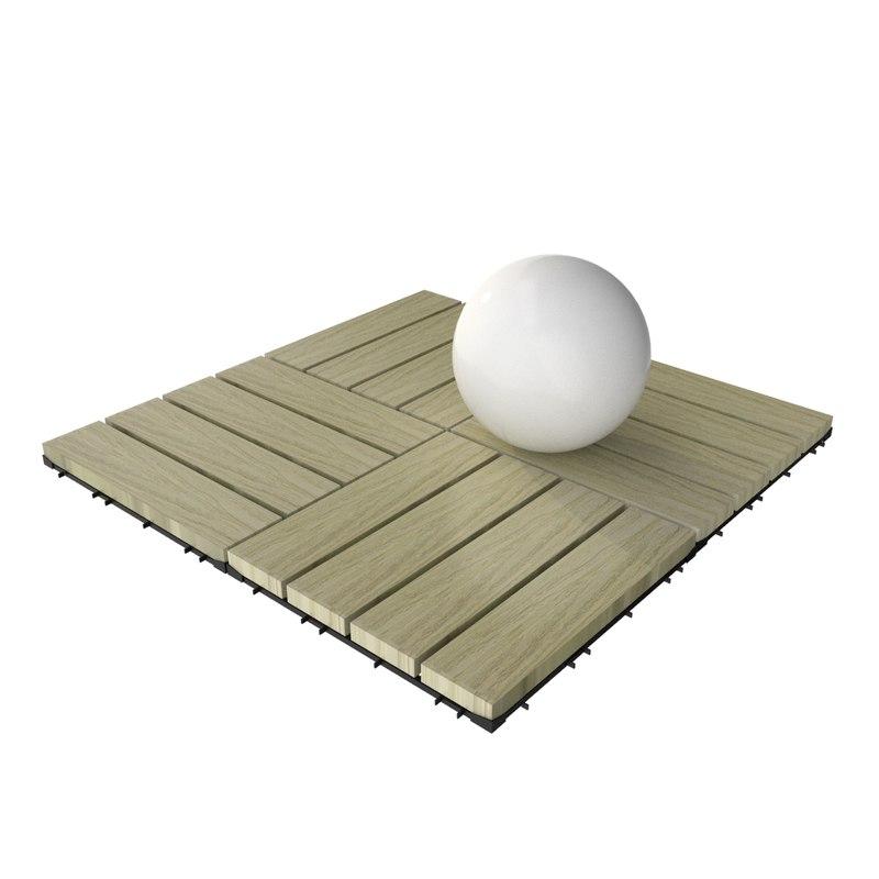 3d model wooden deck tile v7