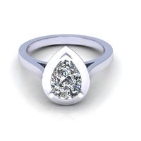 Pear drop love setting diamond ring