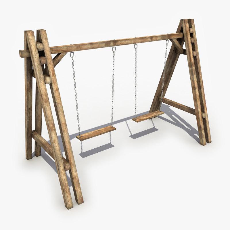3d model of wood wooden swing