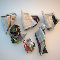 crumpled newspaper