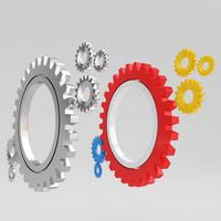 3d mechanical machine gears