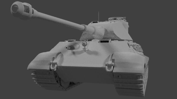 king tiger tank p 3d obj