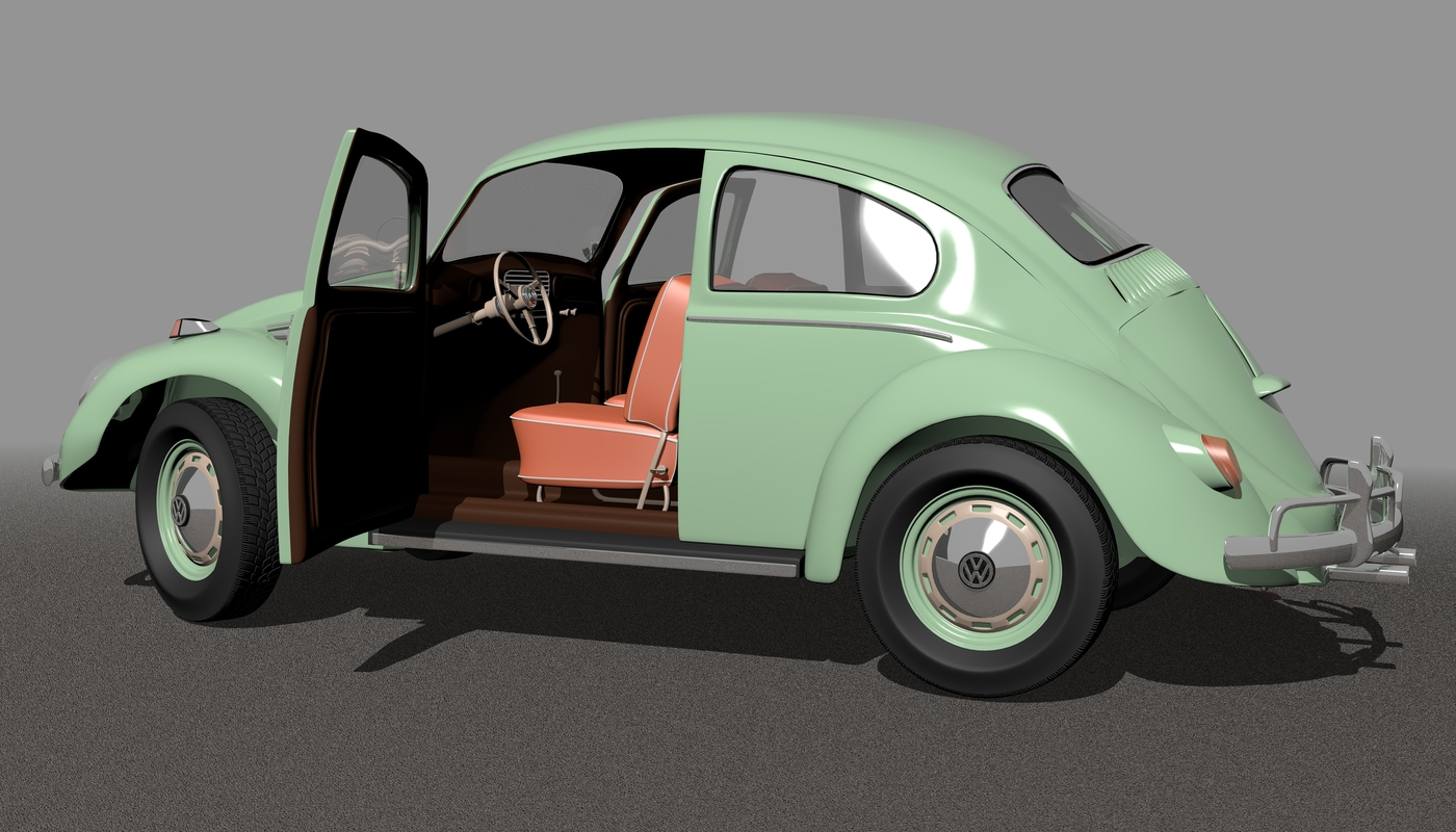 wolkswagen old beetle car 3d blend