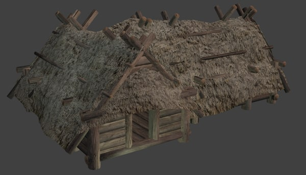 enterable big wooden hut blend
