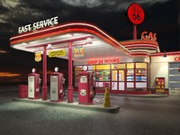 Gas Station Route66 at day and night