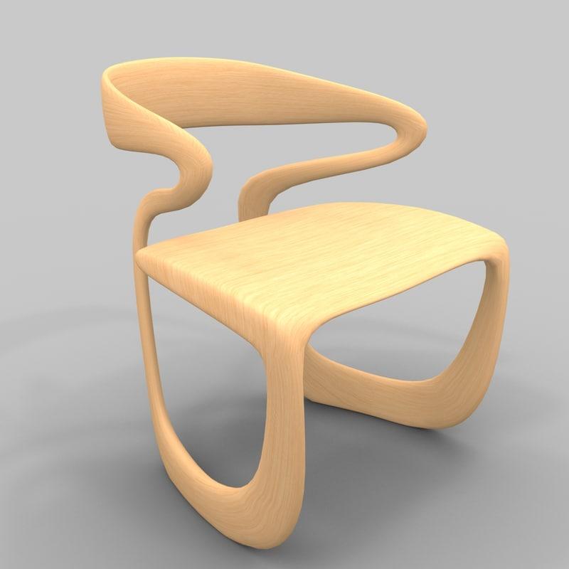 wood chair organic 3d model