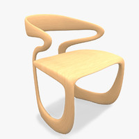 wood chair organic 3d model
