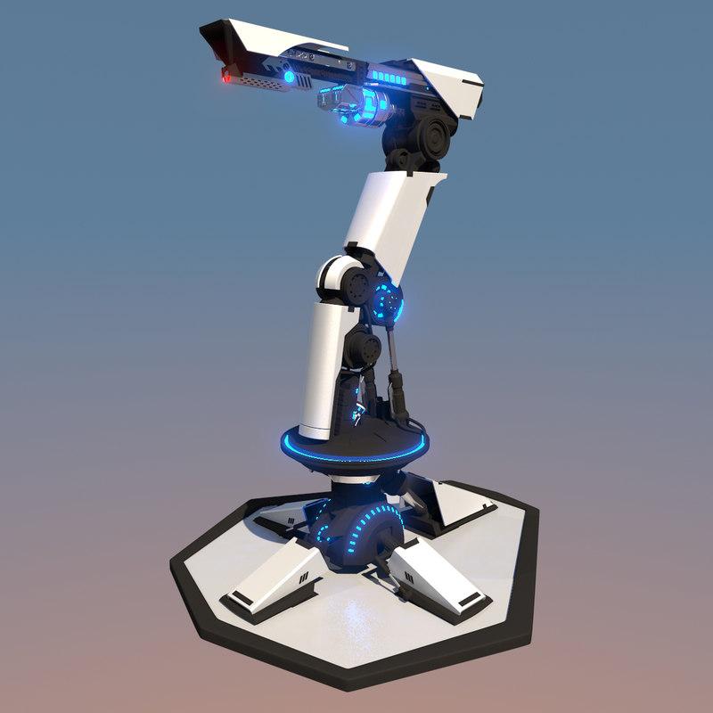 futuristic turret weapon 3d max