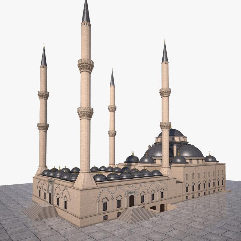 3d architecture mosque bursa model