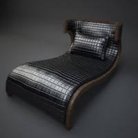Briarwood Finished Chaise Lounge, Quilted Bentley Black Leather Upholstery(1)