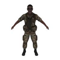 black male military pilot 3d model