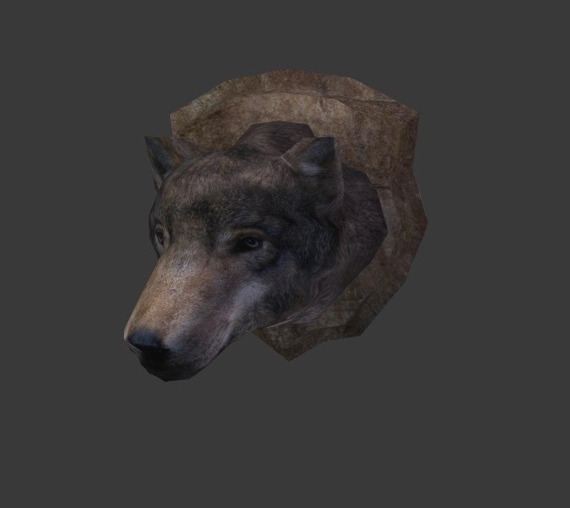 3d wolf trophy model