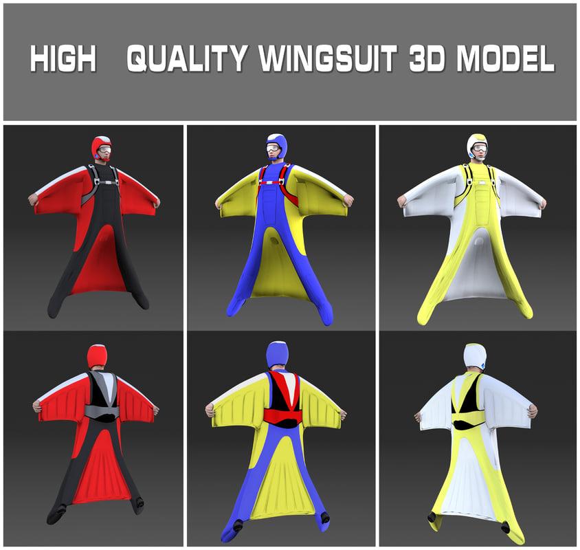 wingsuit skydiving 3d model