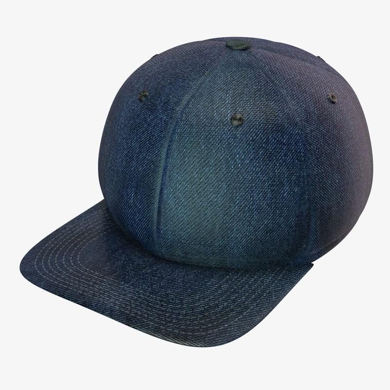 3d denim baseball cap model