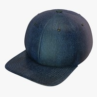 3d denim baseball cap model
