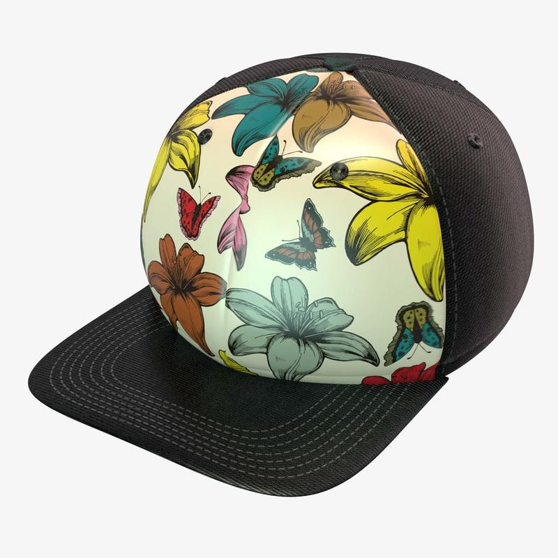 retro flower butterfly baseball cap obj