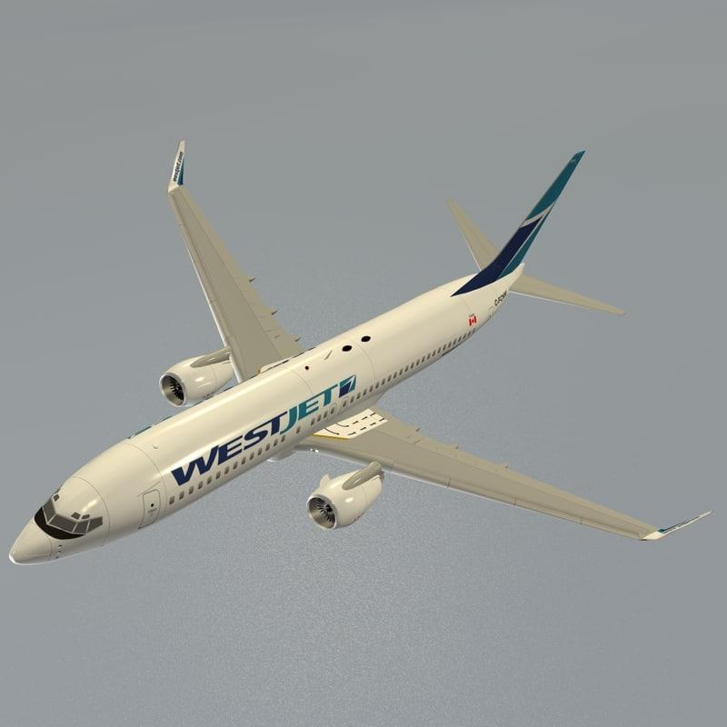 boeing 737-800 westjet 3d model