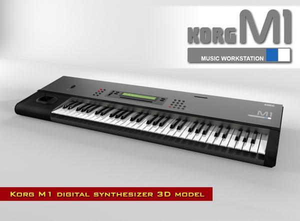 digital synthesizer korg m1 3d model