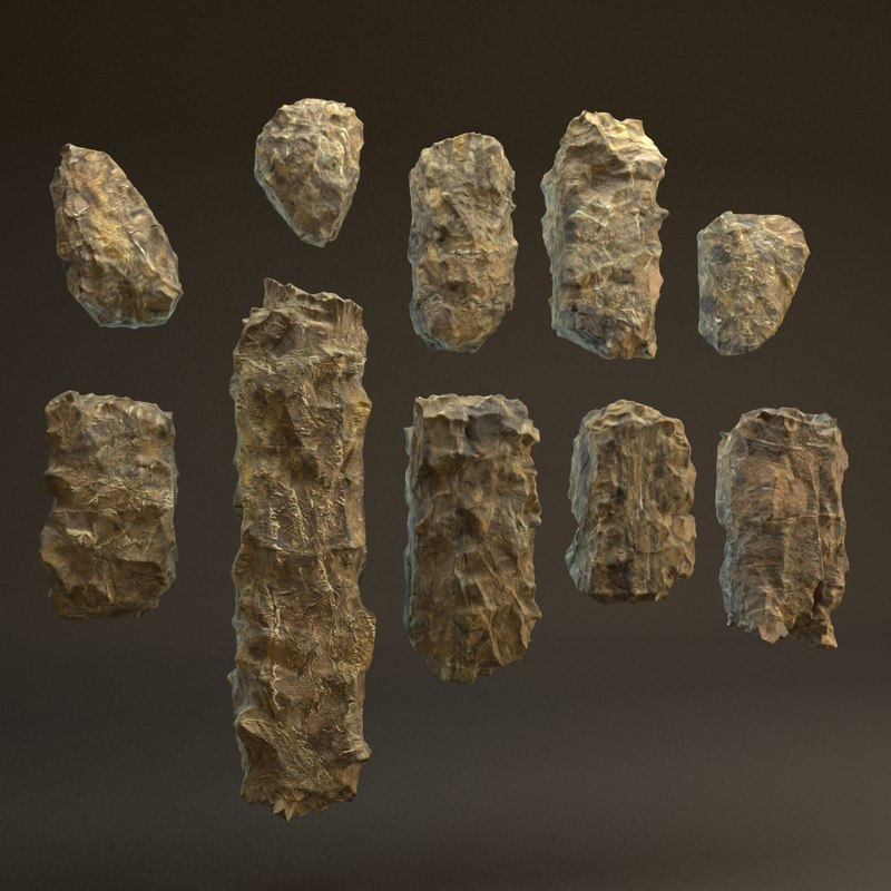 rocks blocky pack 10 3d max