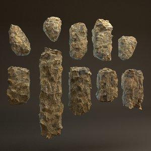 rocks blocky pack 10 3d max