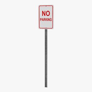 3d model of parking sign
