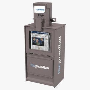 3d model classic newspaper box gray
