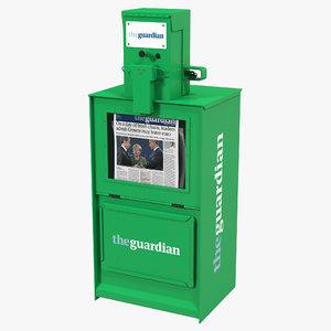 classic newspaper box green 3d 3ds