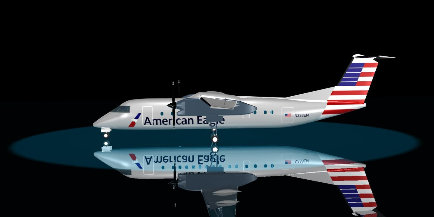 3d model american airlines bombardier dash