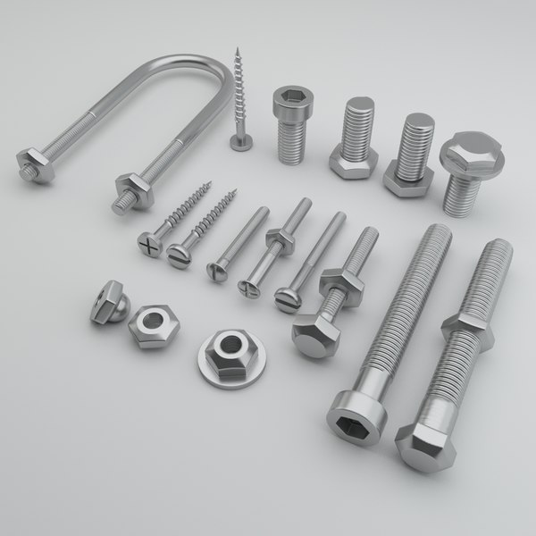 3d model bolts screws hexagonal nails