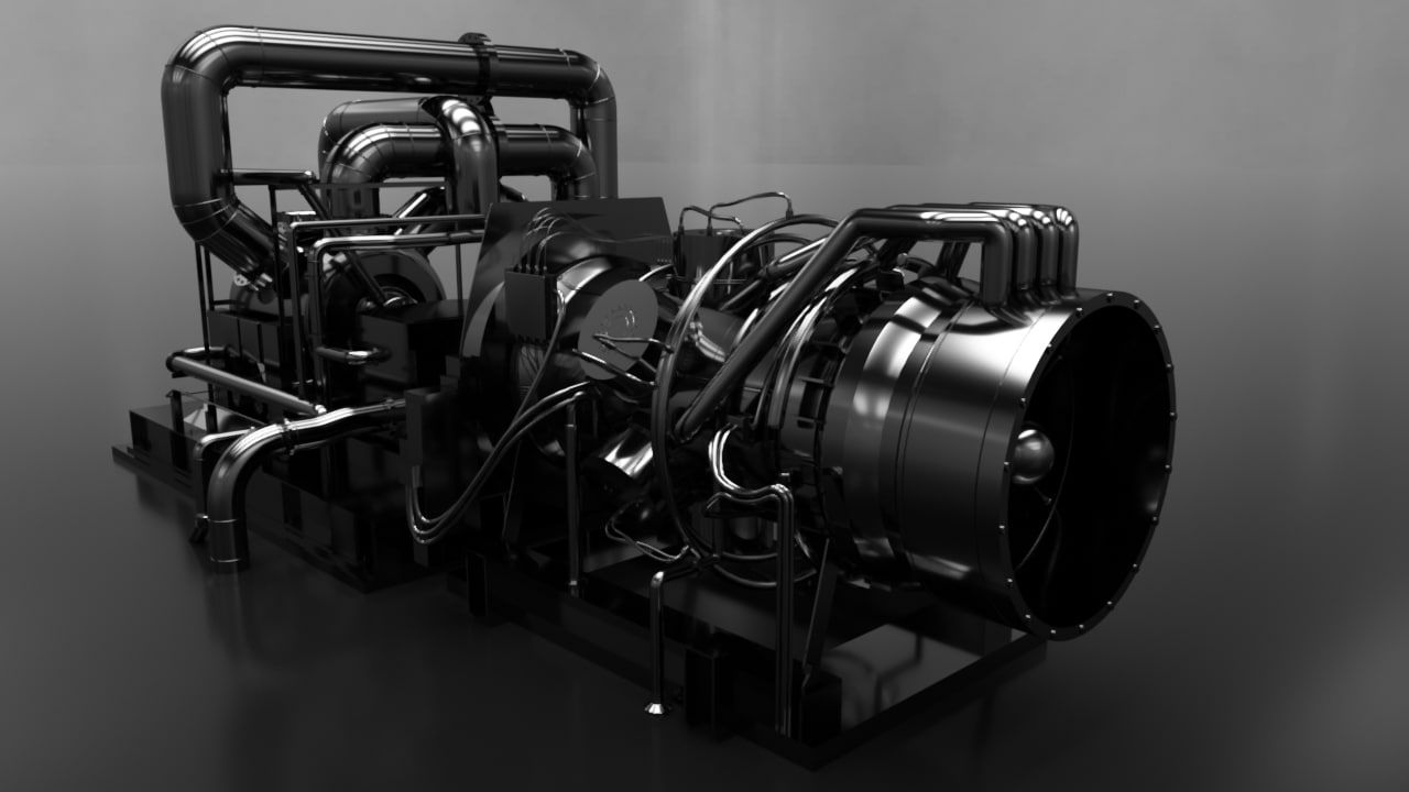 jet engine test stand 3d max