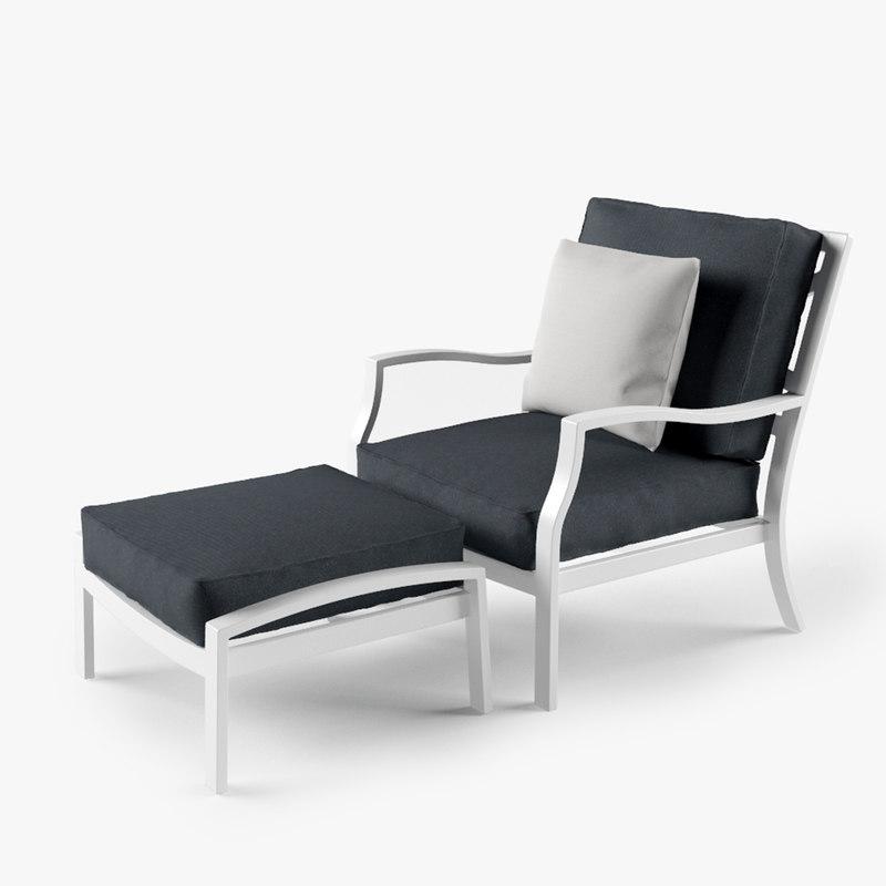 longue chair ottoman 3d max