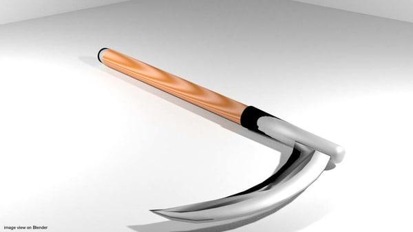 farm scythe tool 3d 3ds